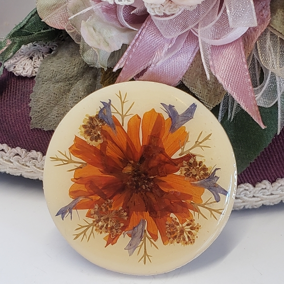 Ceramic Statement Jewelry Pressed Flower Brooch Boho